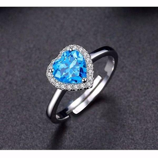 Heart Of Ocean Aquamarine Sapphire Gemstone Ring Women Sky Blue Crystal Stone Rings Fine Jewelry