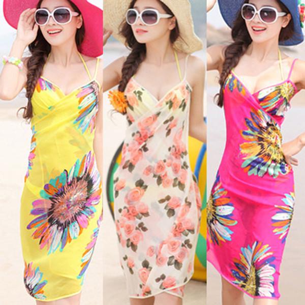 Summer Women Beach Dress Bohemia Sling Beach Wear Dress Floral Bikini Cover-ups Wrap Paréo Jupes Crème Solaire Serviette Open-Back Maillots De Bain C6129