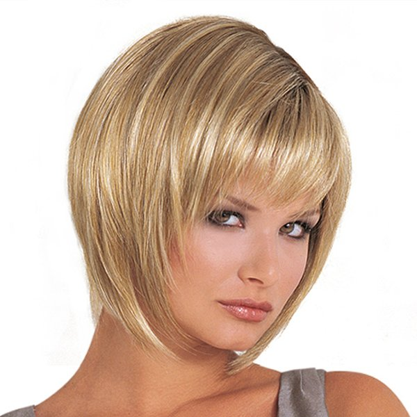 New wig female realistic natural wig short straight hair set
