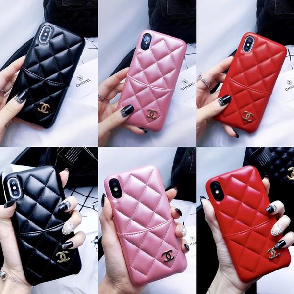 Designer de moda slot para cartão titular carteira caso de telefone para o iphone x xs xr xs max 7 8 plus couro slots de cartão de cobertura para iphone 6 6 plus casos