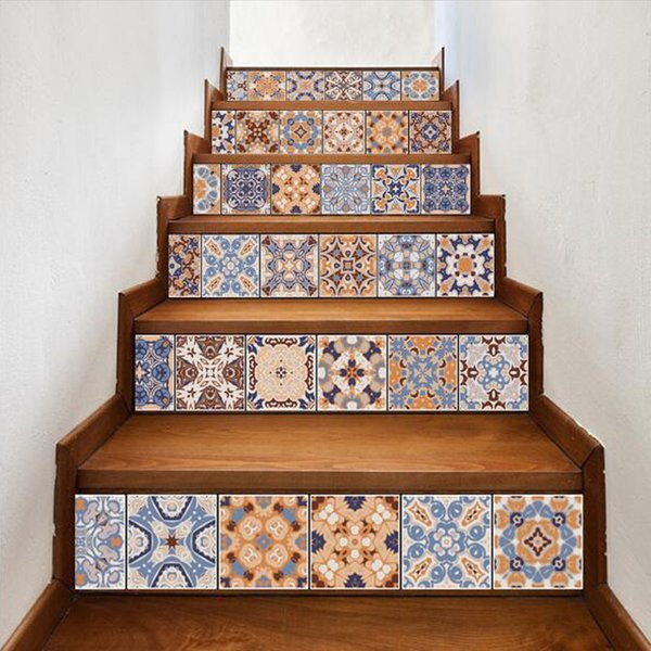 DIY Tile Stair Sticker Home Decor Staircase Stickers Kitchen Bathroom Waterproof Self Adhesive Wall Sticker Wallpaper