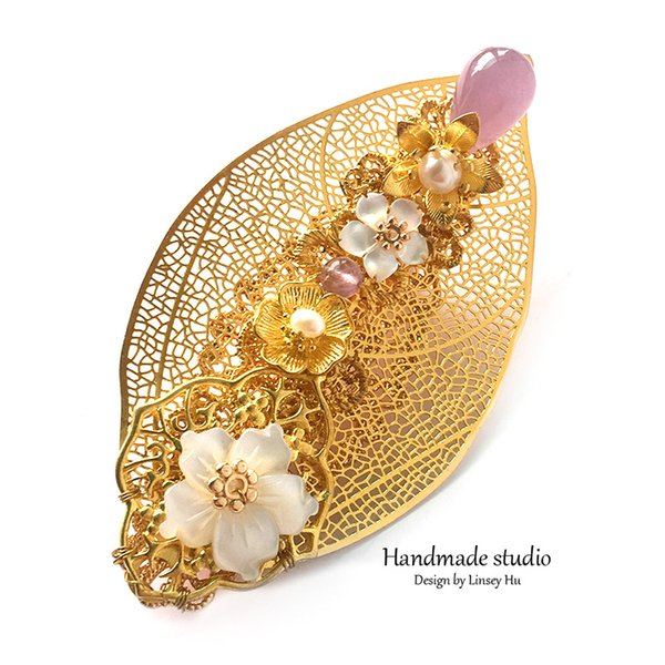 New fashion Natural Pearl Hairpins Jewelry For Women Big Size Light Purple Crystal Hairwear Handmade Flower Leaf Brooch accessories FS1001