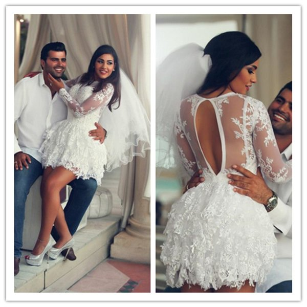 Discount White Illusion Mini Lace A Line Wedding Dress Custom Made Long Sleeves Bridal Gown Bridal Dresses Cheap Wedding Dresses From Wfb8899