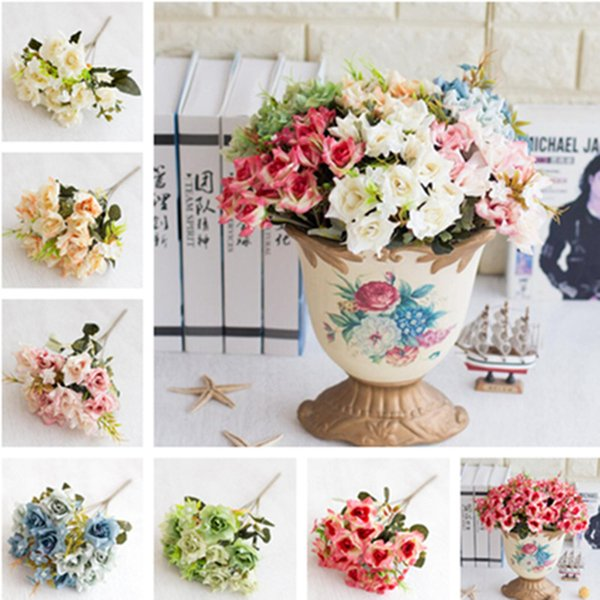 """Fake Curling Rose Bunch 11.42"""" Length Simulation Oil Painting Roses for Home Decorative Artificial Flowers"""