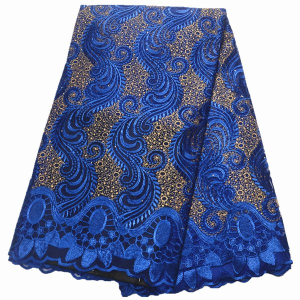 best selling teal lace fabric 2019 high quality lace nigerian fabric for women dress african tulle with stones 5yards per piece