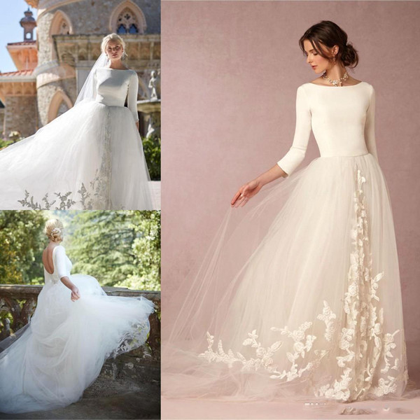 2020 Simple Country White A Line Wedding Dresses Satin Lace Tulle Backless Beach 3/4 Sleeve Country Bridal Gowns Custom Wedding Gown BA7271