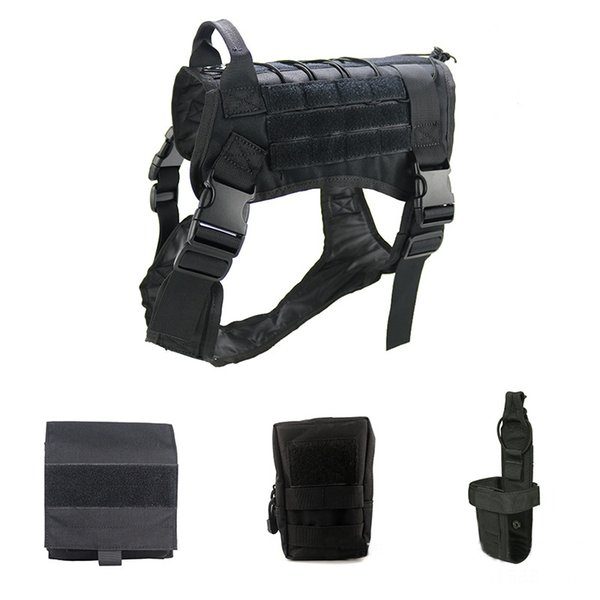 9K Outdoor Training Dog Vest Harness 1000D Nylon Large Combat Tactical Military Vest Suit Durable Adjustable Dog Clothes Set M86F