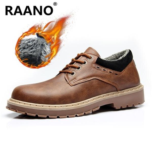 Yeni Moda Punk Stil Kentsel Erkekler Deri Ayakkabı Retro Lace Up El-Dikiş Erkekler Tekne Ayakkabı Rahat Peluş Sıcak Oxford 39-44 EUR