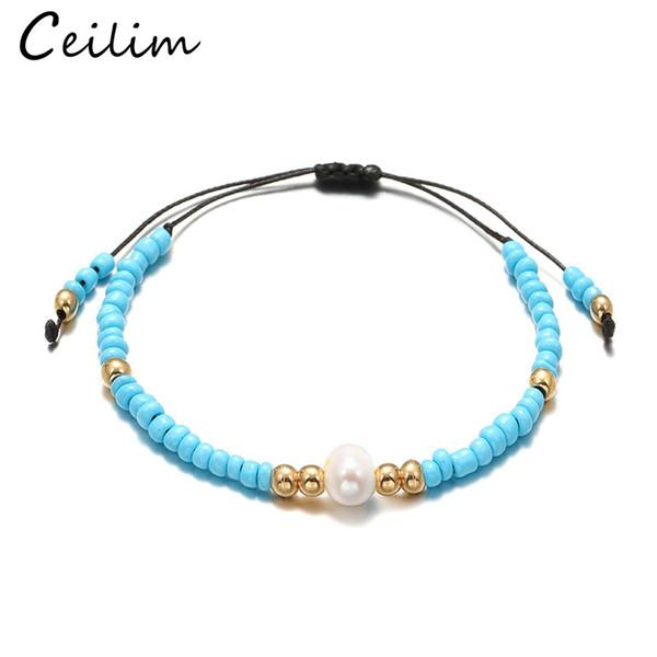 Neue Ankunft handgemachte Perle geflochtenes Armband mit Perle Charme für Frauen Multi Color Bead verstellbare Armband Sommer Schmuck