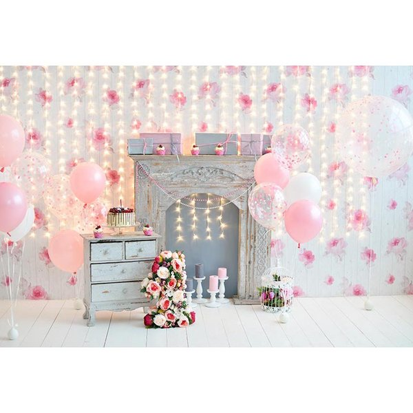 Abstract Light Bokeh Glitters Balloons Fireplace Newborn Baby Backdrops Photography Children Birthday Photo Background Stand