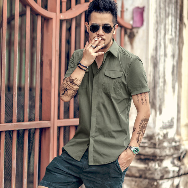 Casual dress shirt men slim fit style army green male for boys kaki mens designer en coton à manches courtes respirant Marque