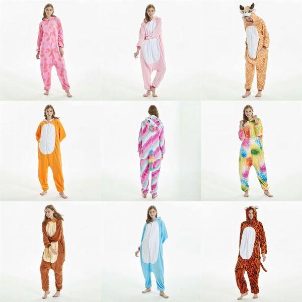 Adulto Donne Flanella Pajama imposta pigiama Stitch Onesies caldo inverno Coppie Animal Pigiama Cosplay del fumetto del Anime Pigiameria MC3023-44