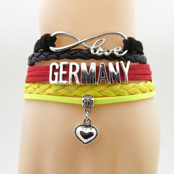 love Germany Bracelet heart Charm love Germany country bracelets & bangles for woman and man jewelry birthday gift