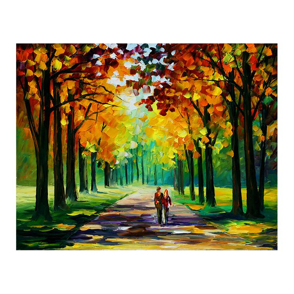 """24""""x48"""" Pallet knife Canvas oil painting hand-painted forest path living room sofa background wall decoration painting European painting"""