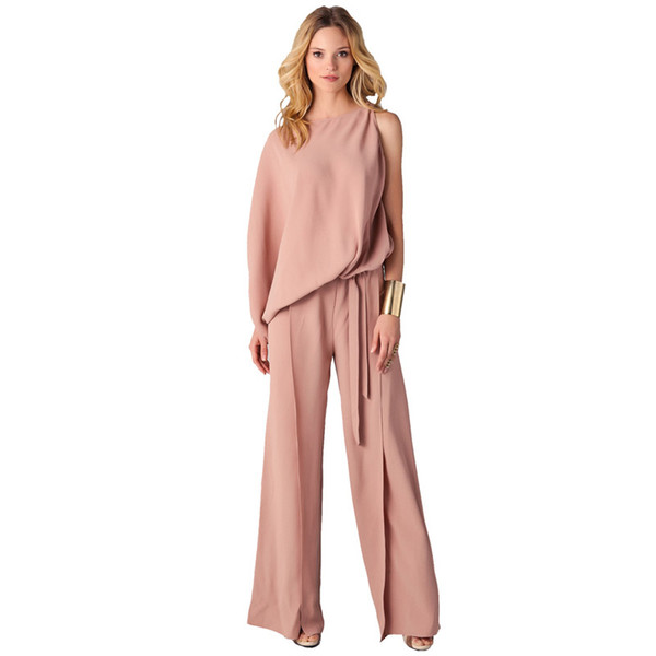 Women New Arrival 2018 High Quality Casual Party One Sleeve Big Size Elegant Pink Loose Long Pants Formal Romper Jumpsuit 305373