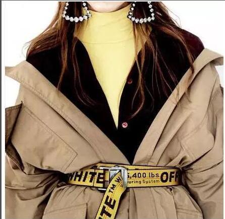 19ss INDUSTRIAL Paris cintura gialla BIANCO stampa uomo donna Costumi Cosplay Cinture Tela ricamata cintura uomo 301