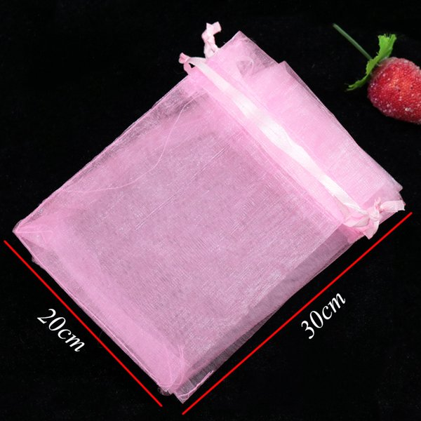 Wholesale 100pcs/lot Pink Organza Bag 20x30cm Party Wedding Drawstring Gift Bag Cosmetics Goodies Jewelry Packaging Bags Pouche