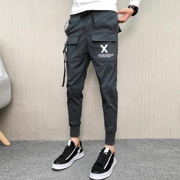 Pantalon décontracté d'été pour hommes - Streetwear - Pantalon slim - Harem - Pantalon Homme Tous les matchs Jogging Hip Hop - Pochette sur le devant - Pantalon Homme 34