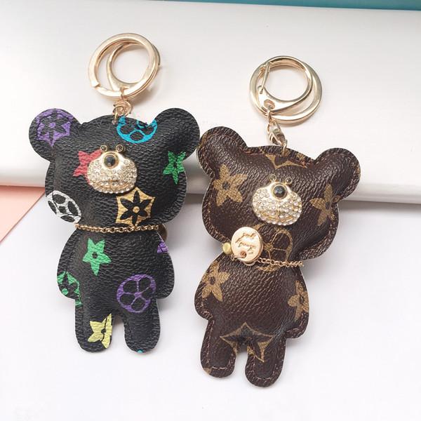 Горячие продажи Новая мода Медведь Key Chain Аксессуары кисточкой брелок Кожа PU Медведь Pattern автомобиля брелок ювелирные изделия мешок шарма Бесплатная доставка