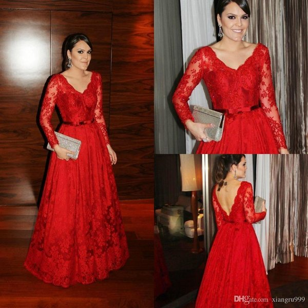 Setwell Sexy V-Neck Long Sleeves Backless Prom Dresses A-line Full Lace Evening Gowns Elegant Arabic Special Occasion Dress