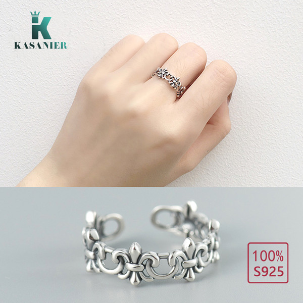 KASANIER S925 Sterling Silver Infinite Knuckle Opening Rings for woman and men Ethnic Geometric Pattern Rings and Jewelry gift