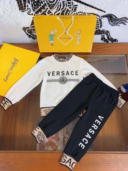 Мальчики толстовки комплекты детская дизайнерская одежда печатает письмо шею пуловер + брюки 2 шт. Осень классический рисунок мальчика брюки комплекты