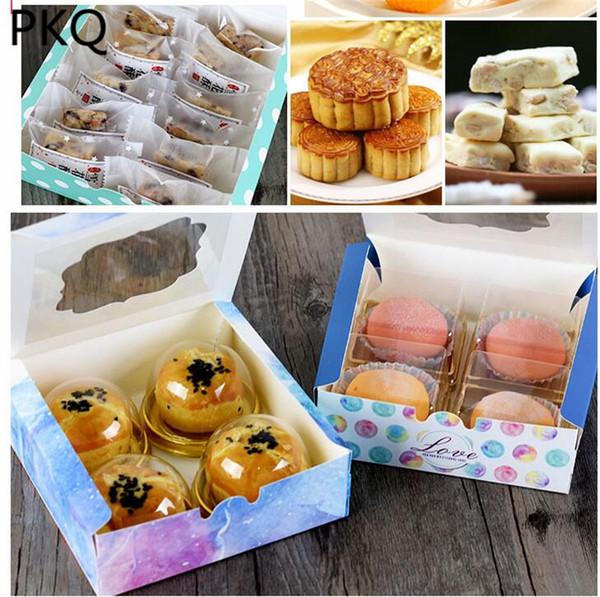 14.3x14.3x3.7 cm Caja de empaquetado de la torta de la galleta de papel de Kraft con la ventana plástica del PVC para el regalo de la fiesta del regalo de los niños del caramelo Favor de la boda