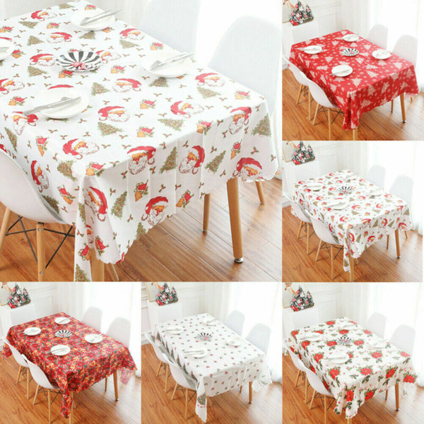 150 * 180cm Nouveau Noël Imprimé Nappe Coton Imprimé Rectangle PVC Nappe de Noël Table couverture Décorations