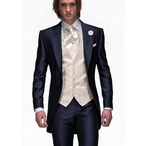 Fashion Design Navy Blue Groom Tuxedos Peak Lapel One Button Groomsmen Mens Wedding Tuxedos Excellent Man 3Piece Suit(Jacket+Pants+Vest+Tie)