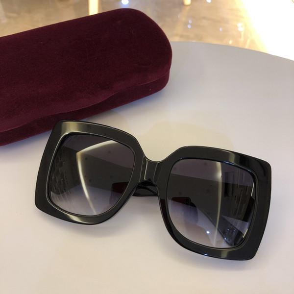 2019 Nueva moda mujer gafas de sol 5 colores marco cristalino brillante diseño cuadrado grande marco señora caliente diseño UV400 lente con el caso
