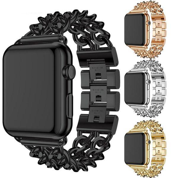 Women Men Luxury Premium Stainless Steel Metal Cowboy Chain Bracelet Replacement Wrist Strap Watch Band for Apple Watch Series 4 3 2 1