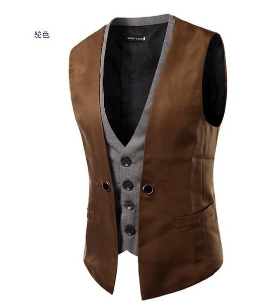 Pop2019 Product Spring Xia Men Personality Lattice Split Joint False Two Paper Single Row Buckle Cool Time Five Color Vest