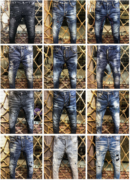 best selling 2019 New Arrival Top Quality Brand Designer Men Denim Jeans Embroidery Pants Fashion Holes Trousers US Size 28-38
