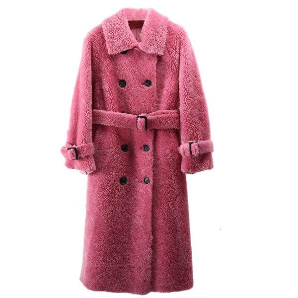 2019 donne cappotto invernale giacche a vento lana naturale pelliccia di agnello di pecora ecopelle lungo trench doppio petto giacca SH190922