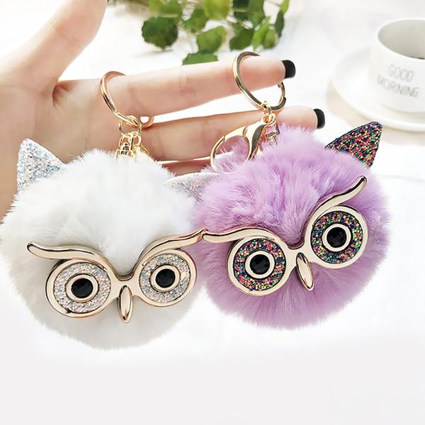 2019 Fur Owl Crystal Eye Bag's Keychain Car Keyring Car Key Chain Ring Automobiles Keyfob For Brithday School Gift Wholesale