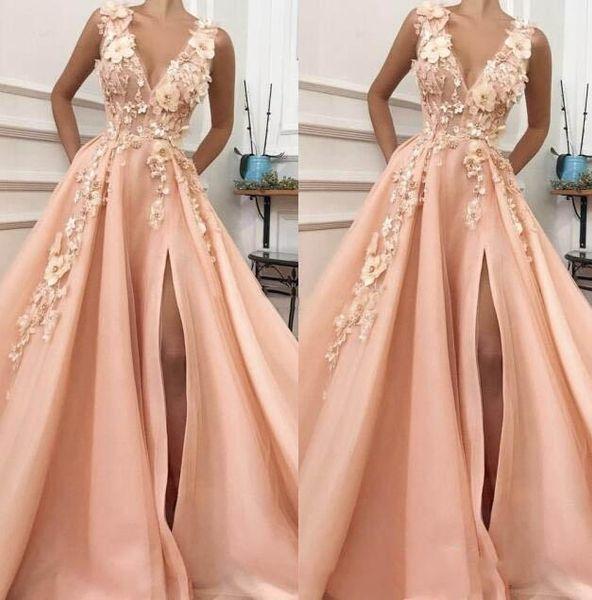 2019 A-line V Neck High Slit 3D Flowers Evening Dresses Long Lace Prom Gown Formal Evening Party Dress Graduation Dresses