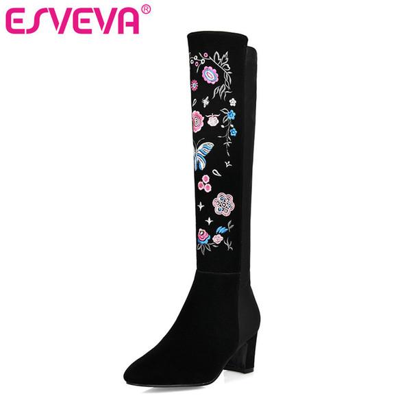 ESVEVA 2020 Schuhe Frauen Kniehohe Stiefel Fashion Square Ferse Blume Reißverschluss Runde Kappe Punk Stiefel Schuhe Größe 34-43 Winter