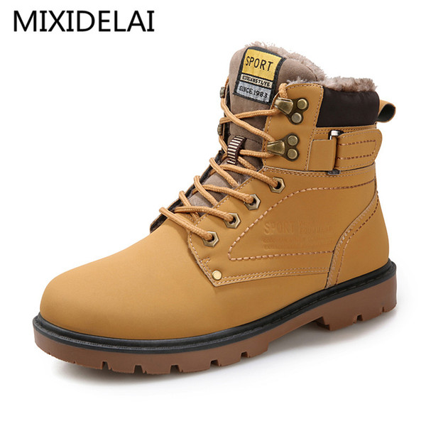 Mixidelai Warm Men's Winter Pu Leather Ankle Boots Men Autumn Waterproof Snow Boots Leisure Outdoor Autumn Boots Shoes Mens MX190819
