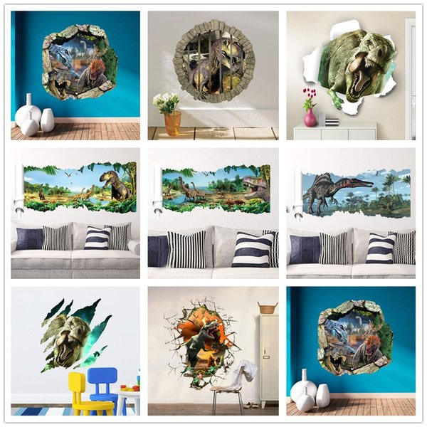 3d dinosaurs through the wall stickers jurassic park home decoration diy cartoon kids room wall decal movie mural art Poster