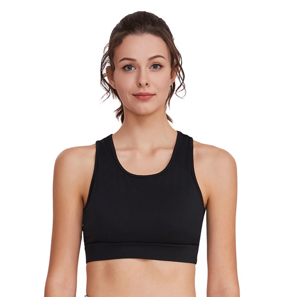 Woman Yoga Sports Bra Push Up Running Sport T-shirt Gym Shirt Top Fitness Fitness Clothes Breathable Running Vest black JS8024