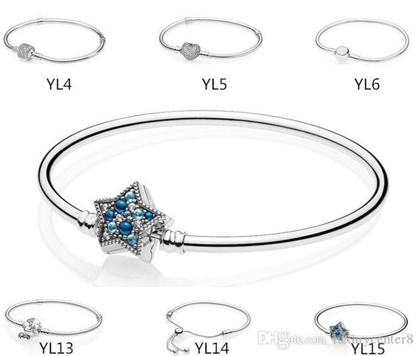 Authentic 925 Sterling Silver Heart Charms Bracelet 6.3 inch 16CM Fit Pandora European Beads Jewelry Bangle Real silver Bracelet for Women