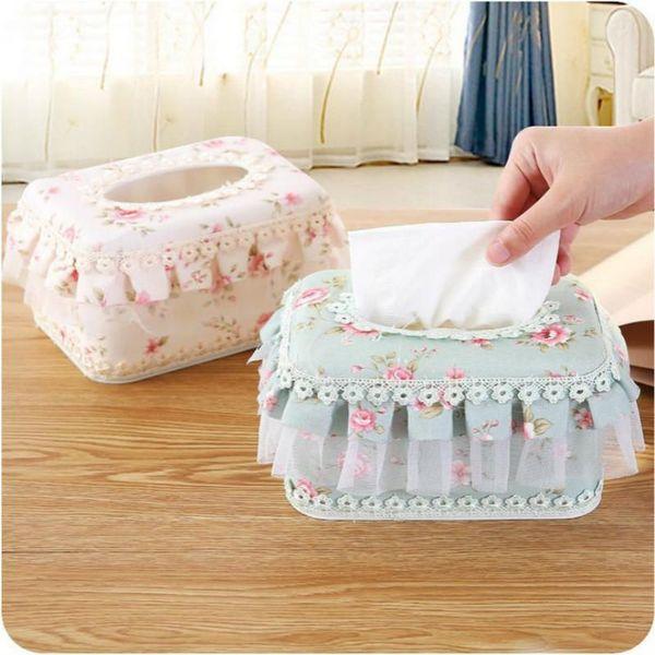 1PC Paper box European garden lace fabric creative home use multifunctional car carton tissue box Table Accessories
