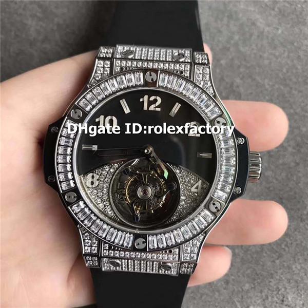 Top White Diamond Silver Reloj para hombre Baguett Bisel Real SWISS Tourbillon Cuerda manual Zafiro Correa de caucho negro Reloj Wriap 3 colores
