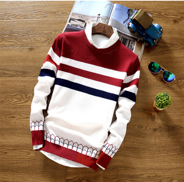 Mens Winter Stripped Sweaters Colors Blue Red Black Panelled Pullover Man Slim Casual Sweaters Free Shipping