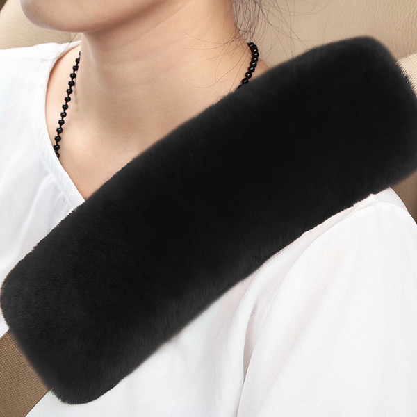 Two Packs Black A Must Have for All Car Owners for a More Comfortable Driving Soft Faux Sheepskin Seat Belt Shoulder Pad