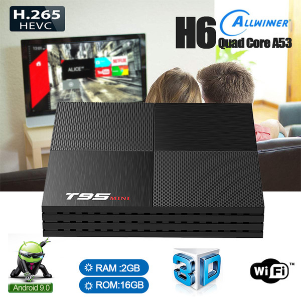 top popular T95 Mini Android 9.0 TV Box Allwinner H6 Quad Core 2GB 16GB 2.4G WiFi USB3.0 Support 6K H.265 Smart Media Player 2019