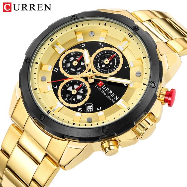 CURREN 2019 Newfashion Chronograph Quartz Sport Watches for Men Business Wristwatch with Calendar Mens Watch Male Clock Relojes