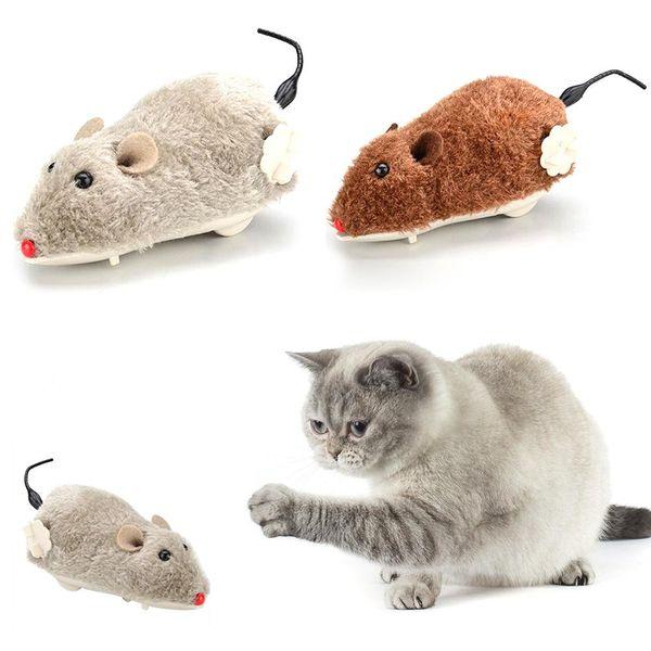 Novo Cão de Estimação Gato De Pelúcia Brinquedo Engraçado Rato Animal Relógio Clockwork Wind Up Correndo Jogar Presente