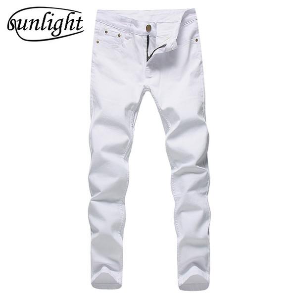 2019 Homens Stretch Jeans Moda Branco Denim Calças Para O Sexo Masculino Primavera E No Outono Calças Retro Calças de Brim dos homens Casuais Tamanho 27-36 MX190718