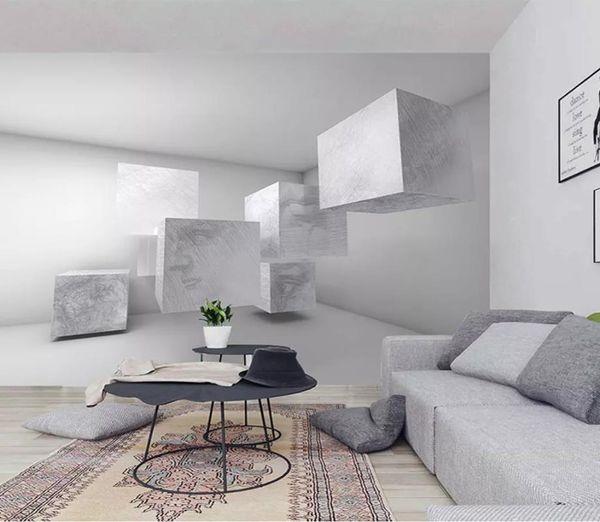 Benutzerdefinierte 3D Stereo Nordic geometrische Skizze dreidimensionale geometri Foto Wallpaper Hintergrund Wallpaper Wandmalerei Esszimmer TV Wandbild
